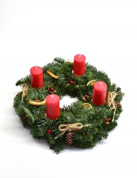 Wreath of fir branches with...